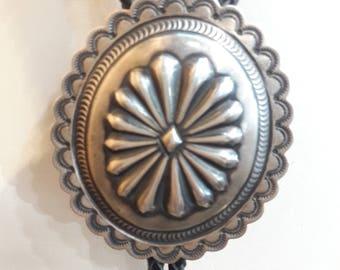 Authentic Native American Navajo Handmade Sterling Silver Bolo Tie