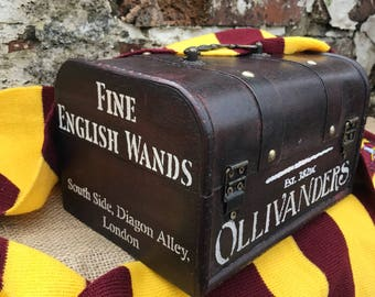 Harry Potter ollivanders fine wand makers vintage style wooden chest storage box diagon alley