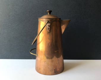 Vintage Copper Pitcher - Copper and Brass Pitcher with Lid /  Cottage Flowerpot / Antique Portugal Copper / Country Copper Cottage Kitchen