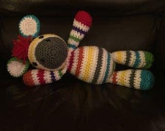 Crochet Rainbow Zebra Stuffed Animal