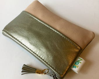 Silver and pastel pink leather wallet