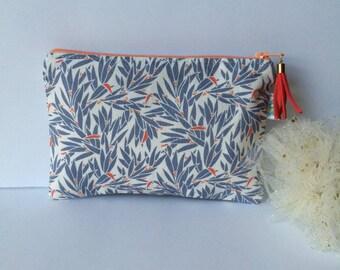 Pouch / clutch in blue floral cotton