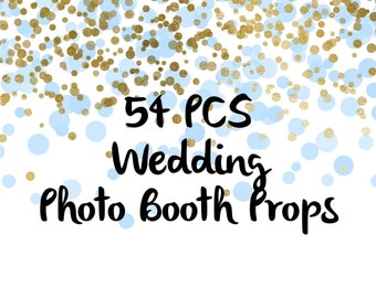 54PCS Wedding Photo Booth Props, Party Props, Photo Booth Props, Party Supplies, Party Decor, Party, Photo props, Wedding Props, Wedding