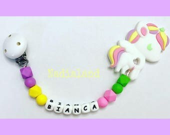 Silicone chain with toy teething unicorn and baby or baby name/food silicone beads/wooden Clip/Baby Accessories