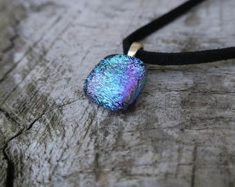 Turquoise/ Purple dichroic glass necklace