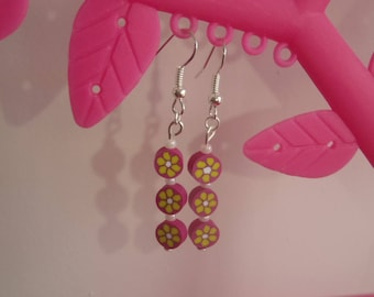 pair of earrings in polymer clay pink and yellow flower pattern