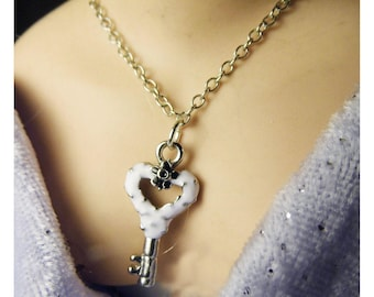 Key charm necklace for Barbie doll. Accessory.  Handmade by Nims