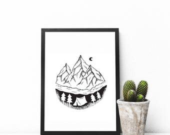 Mountain Print Printable Wall Decor Mountain Prints Instant Download Forest Prints  Woodland Nursery Adventure Awaits Camping Forest Print