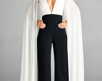 Women's Color Block Deep V Neck Chiffon Sleeve Jumpsuit/Bridal Jumpsuit/Bridesmaid Jumpsuit/Party Jumpsuit/Plus Size