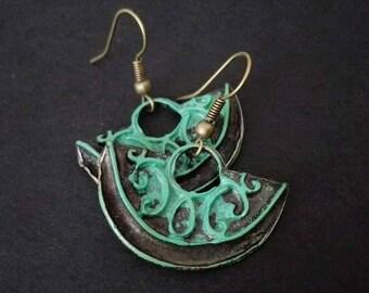Verdigris Patina  Earrings | Bronze Earrings | Ethnic Earrings | Boho Earrings | Turquoise Earrings | Pendientes  | Bohemian Earrings