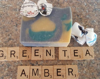 Blue Camo Soap for JDRF Awareness with Free Bow (Green Tea & Amber Scent)