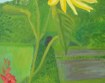 Garden Flowers Original Painting acrylic and oil