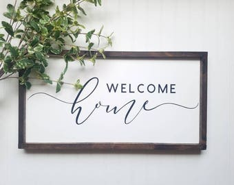 Welcome Home Sign, front door sign, welcome sign, welcome home, farmhouse decor, wood sign, entry decor, foyer decor