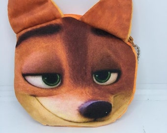 So Kawaii and cute from Japan Nick Fox Zootopia Coin Purse Mini Wallet Money Bag Change Pouch Key Holder Pokemon Charger Cord Holder
