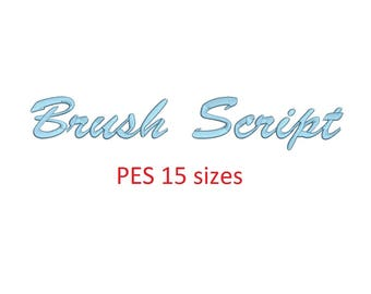 Brush Script embroidery font PES format 15 Sizes instant download