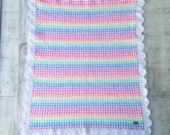 Bright rainbow colour crochet blanket handmade for baby, stroller, or just to liven up your home or as a gift