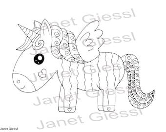 Cute Unicorn Single Coloring Page