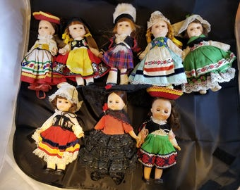 Eight Vintage dolls, ARCO 1960's, Dolls of the World, Collectibles