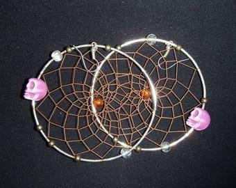 Skull dreamcatcher earrings