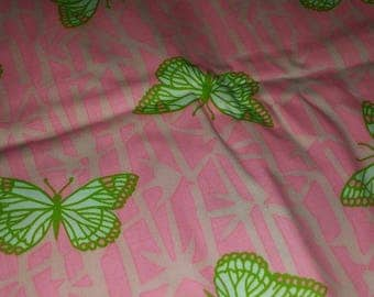 Vintage pink butterfly fabric piece of 4 yards