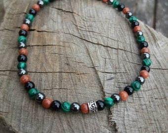 Mixed Semi Precious stone bead bracelet with Sterling Silver Patterened Band