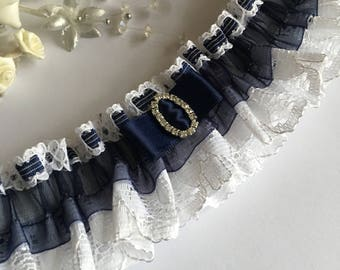 Wedding Garter, navy blue and white, available in S/M & Plus size/Large