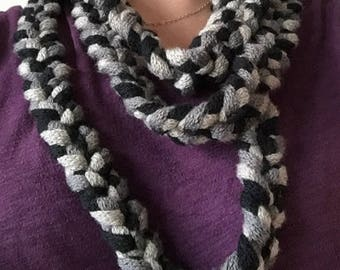3 Colour Braided Infinity Scarf (Pattern)