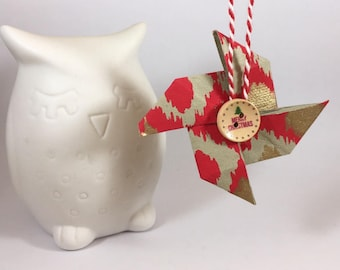 Christmas hanging red origami washi paper mill