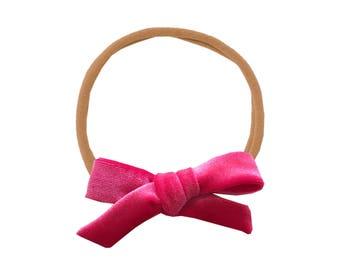 Schoolgirl Velvet Bow or Pigtail Set /// Geranium