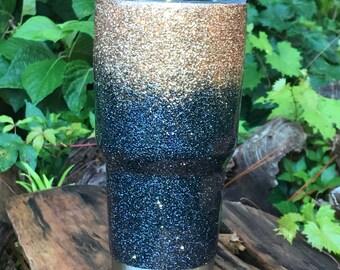 Black and gold / glitter/ tumbler/ yeti/ ozark/ custom