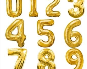 17 Inch Golden Foil Balloon Number / Gold Foil balloon / Birthday Anniversary Party