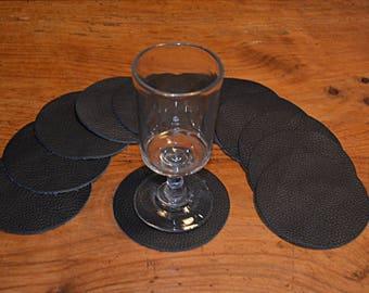 12 black cowhide leather coasters (2017072605)