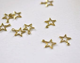 Raw brass star 10 small charms