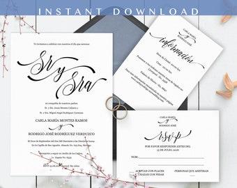 Invitaciones de Boda, Spanish wedding invitation, Wedding suite, Instant Download, Classico Moderno, Imprime en casa, PDF, Edit at home
