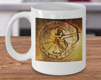 Zodiac Horoscope coffee mug - SAGITTARIUS star sign symbol - Constellation birthday gift