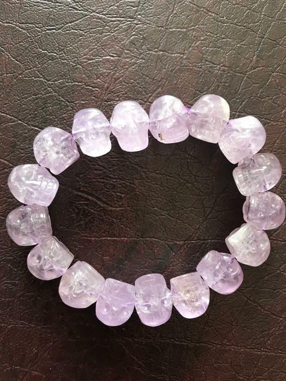 Amethyst Crystal Skull Bracelet