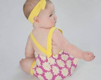 Baby Girl Romper, Baby Bubble Romper, Floral Romper, Summer Romper, Daisy Romper, Baby Bodysuit, Baby Romper outfit