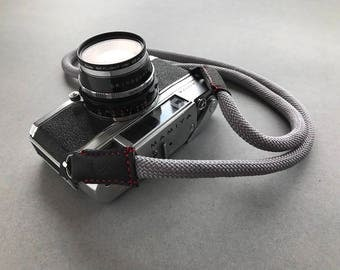 Gray camera strap made from climbing rope and genuine leather. red stitching For dslr slr mirrorless canon nikon fuji sony leica