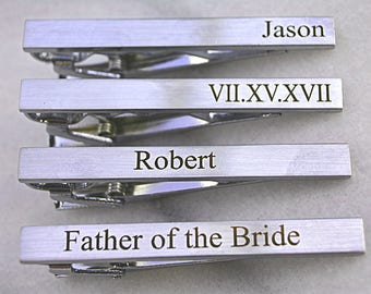 Custom Wedding Tie Clip for Groom, Engraved Tie Clip, Fathers Day Gift, Best Man, Custom Groomsmen Tie Clip, Monogram Tie Bar Clip Silver