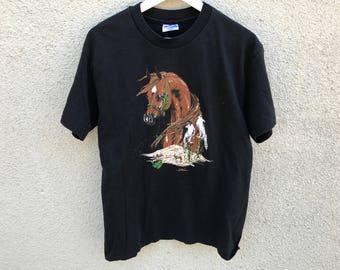 1990's Horse Stallion Painting T-Shirt
