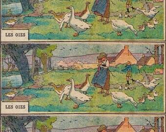 """Magnet Vintage """"Geese"""" magnet, stationery, Planner, old, Old School kitchen Decoration"""