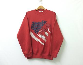 Sale!! Sale!! Vintage Fila Sweatshirt Big Logo Spell Out with Flag Streetwear Red