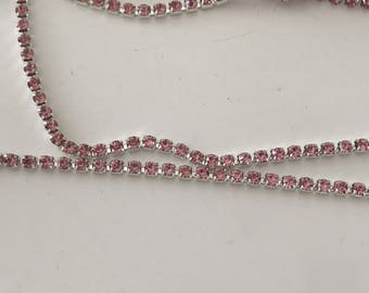 3 mm rhinestone chain dense Pink Silver
