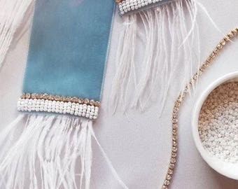 Royal Blue velvet sash (bridal accessories)