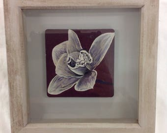 orchid painted coaster in box frame