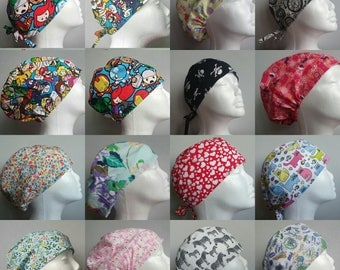 MULTI BUY DISCOUNT Scrub caps, scrub hats, tie back elastic surgical theatre medical chemo cap, gifts for doctors, gifts for vets