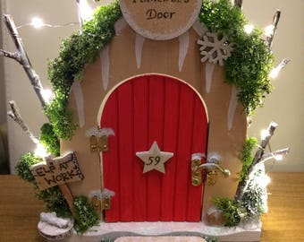Personalised Christmas Elf Door - Handmade Gift for Children - Acrylics, Fairy Lights & Pyrography