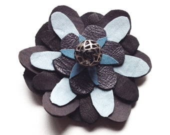 FLOWER BROOCH/ leather flower brooch/ blue flower brooch/ blue navy grey/ one of a kind/ flower pin/ wedding corsage/ wedding flower brooch