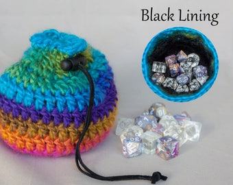 Rainbow Dice Bag with Black Lining - Crochet Pouch - Coin Purse - D&D