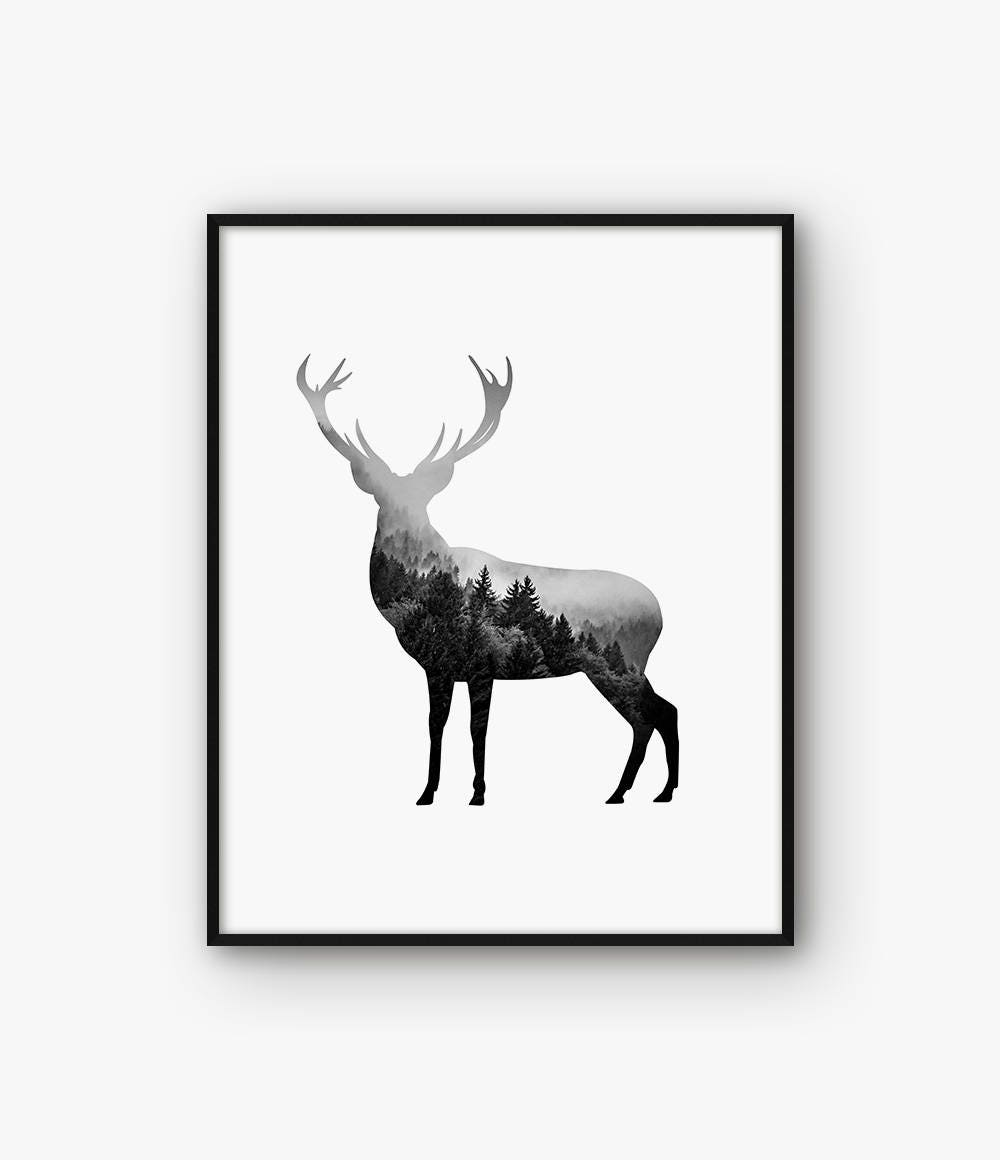 cerf abstraite wall art noir et blanc imprim animal. Black Bedroom Furniture Sets. Home Design Ideas